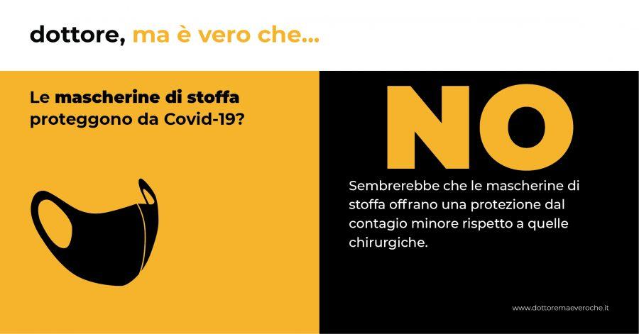 Card: Le mascherine di stoffa proteggono da Covid-19